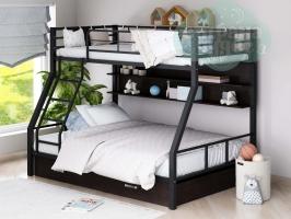 Двухъярусная металлическая кровать ФМ Гранада-1ЯП, черная, с ящиками и полками