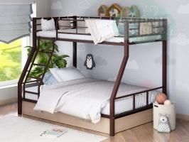 Двухъярусная металлическая кровать ФМ Гранада-1Я, коричневая, с ящиками