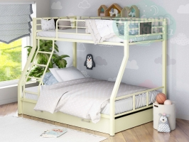 Двухъярусная металлическая кровать ФМ Гранада-1Я, бежевая, с ящиками