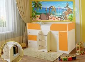 Кровать-чердак Ярофф Малыш-4, дуб молочный - оранжевый