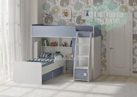Двухъярусная кровать Легенда 42.2.2, белая-голубая