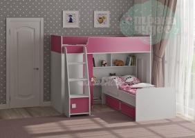 Двухъярусная кровать Легенда 42.2.2, белая-розовая