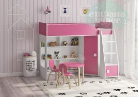 Кровать-чердак Легенда 42.2.1, белая-розовая