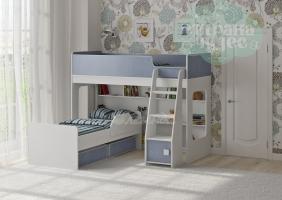 Двухъярусная кровать Легенда 42.3.2, белая-голубая