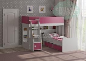 Двухъярусная кровать Легенда 42.3.2, белая-розовая