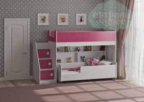 Двухъярусная кровать Легенда 43.3.3, розовый