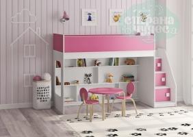 Кровать-чердак Легенда 43.3.1, белая-розовая