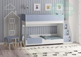 Двухъярусная кровать Легенда 43.4.1, голубой