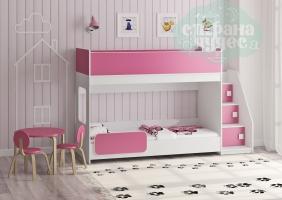 Двухъярусная кровать Легенда 43.4.1, розовый