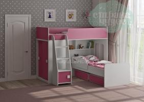 Двухъярусная кровать Легенда 42.5.2, белая-розовая