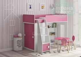 Кровать-чердак Легенда 42.5.1, белая-розовая