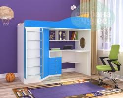 Кровать-чердак Ярофф Кадет-1, голубой