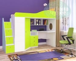 Кровать-чердак Ярофф Кадет со ступенями, белый-лайм