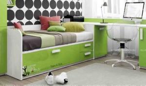 Кровать-диван Klюkva Junior BS06 с 3 ящиками, принт Voque