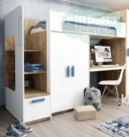 Кровать-чердак Klюkva Junior BR6 со столом и шкафом, белый/дуб табачный