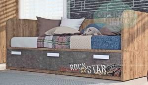Кровать-диван Klюkva Junior BS03 с 3 ящиками, Rock, камень темный/дуб золотой