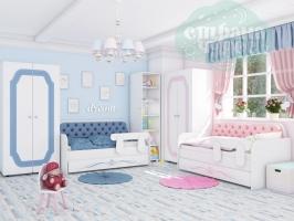 Комната детская для двоих детей голубая