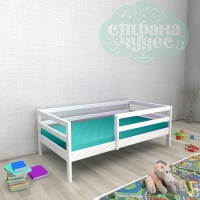 Кровать из березы №1 с бортиком белая