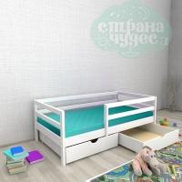 Кровать из березы №1 с ящиками и бортиком белая