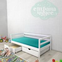 Кровать из березы №1 с ящиками белая