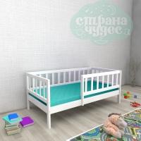 Кровать из березы №2 с бортиком белая