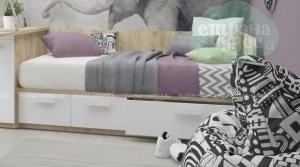 Кровать-диван Klюkva Junior BS04 с 3 ящиками, белый/дуб золотой