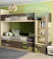 Кровать двухъярусная Klюkva Junior, Millitary, шоколад/дуб золотой