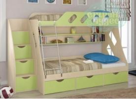 Кровать двухъярусная ФМ Дельта 20.01, со ступенями, салатовая