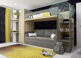 Кровать двухъярусная Klюkva Junior BR1, антрацит с диваном