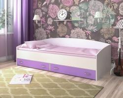 Кровать Ярофф с ящиками, белое дерево - сиреневый