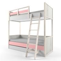 """Кровать двухъярусная 38 попугаев """"Ньютон"""", розовая с лестницей"""