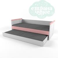 """Кровать 38 попугаев """"Ньютон"""" с доп. спальным местом, розовая"""