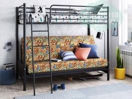 Кровать-чердак с диваном ФМ Мадлен-2, черная