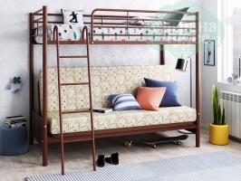 Кровать-чердак с диваном ФМ Мадлен-2, коричневая