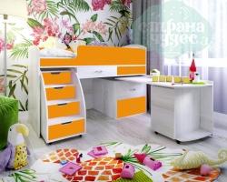 Кровать-чердак Ярофф Малыш-6, белое дерево - оранжевый