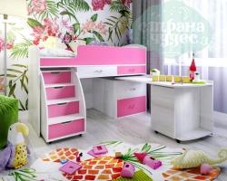 Кровать-чердак Ярофф Малыш-6, белое дерево - розовый