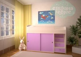 Кровать-чердак Ярофф Малыш Купе, дуб - розовый