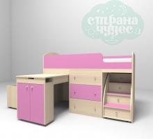 Кровать-чердак Ярофф Малыш, дуб молочный - розовый