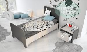 Кровать простая Klюkva Mini MB1, антрацит/сатин