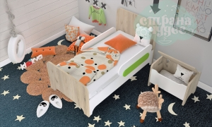 Кровать простая Klюkva Mini MB1, белый/дуб серый