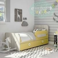 Кровать универсальная Klюkva Mini MB2, лимонный сорбет/дуб белый