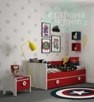 Кровать-диван Klюkva Mini MB3, красный чили/дуб белый