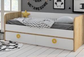 Кровать-диван Klюkva Mini MB3, дуб золотой/белый