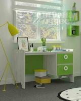 Стол письменный Klюkva Mini MST1, 110 см, зеленая мамба/дуб белый