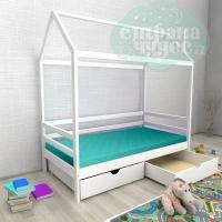Кровать-домик из березы №1 с ящиками белый