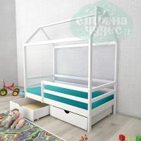 Кровать-домик из березы №1 с ящиками и бортиком, белый
