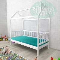 Кровать-домик из березы №2 белый
