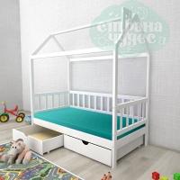 Кровать-домик Ницца с ящиками белый