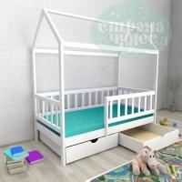 Кровать-домик из березы №2 с ящиками и бортиком, белый