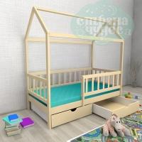 Кровать-домик Ницца с бортиком и ящиками